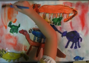 One of my preschool students painting a wonderful animal picture.