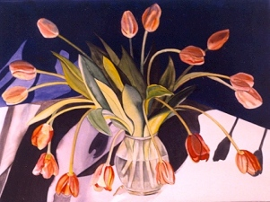 Tulips in Shadow, 22″ x 30″, Watercolor, ©2014