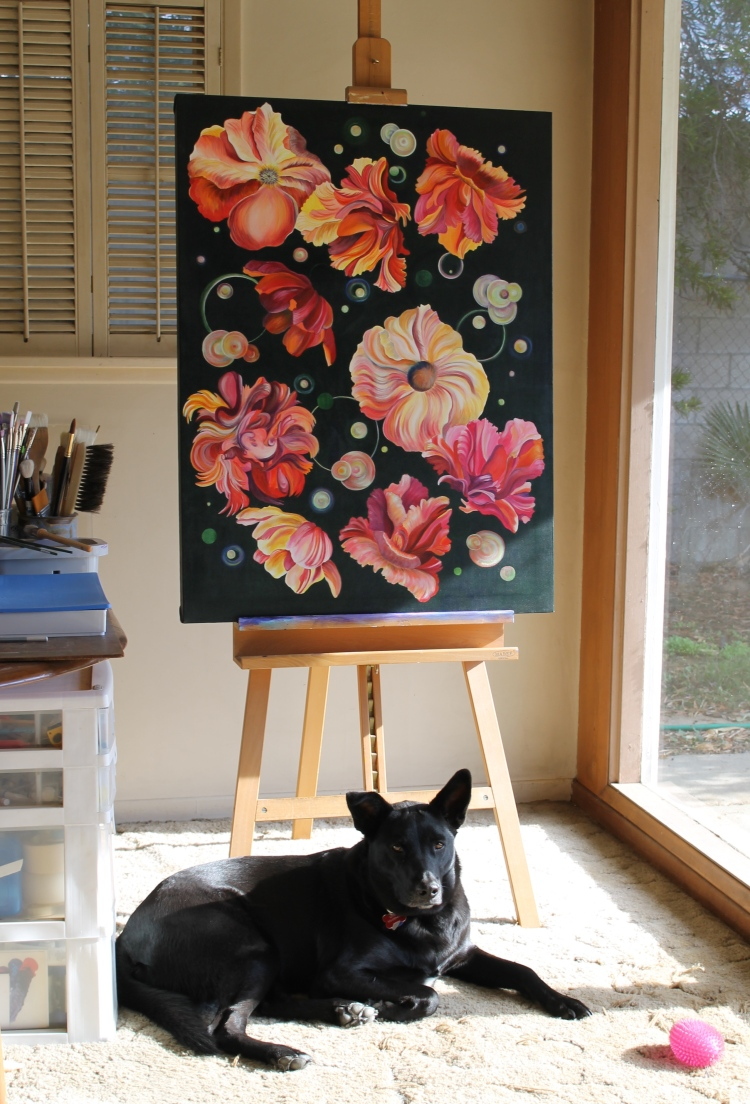 Louie sharing his space with Floating, acrylic painting on canvas, 30″ x 40″, ©2015