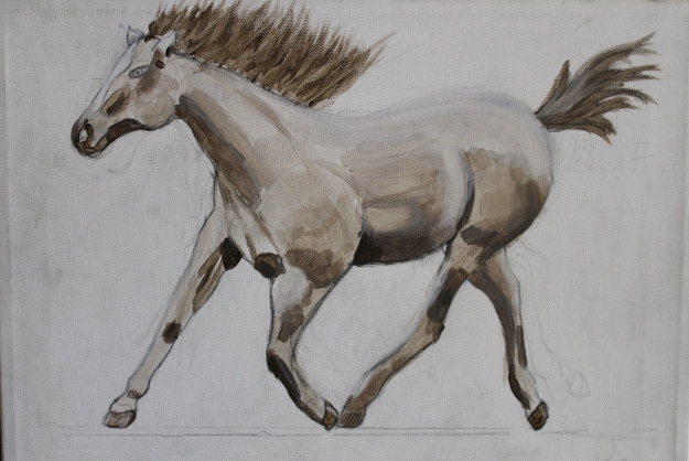Grisaille underpainting.