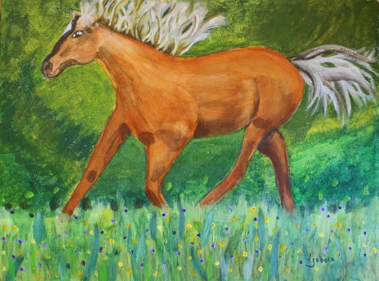 The final painting.  Glazes of color were used over the underpainting.  The musculature of the animal shows through sheer color.